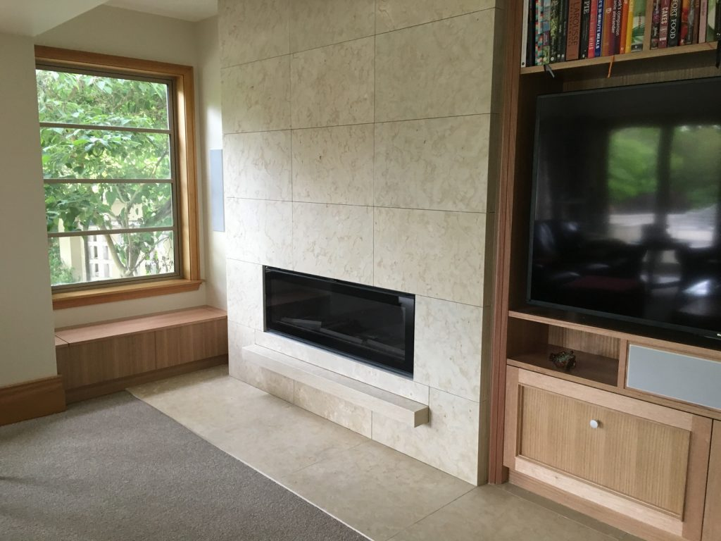 Mt Somers limestone fireplace with floating hearth